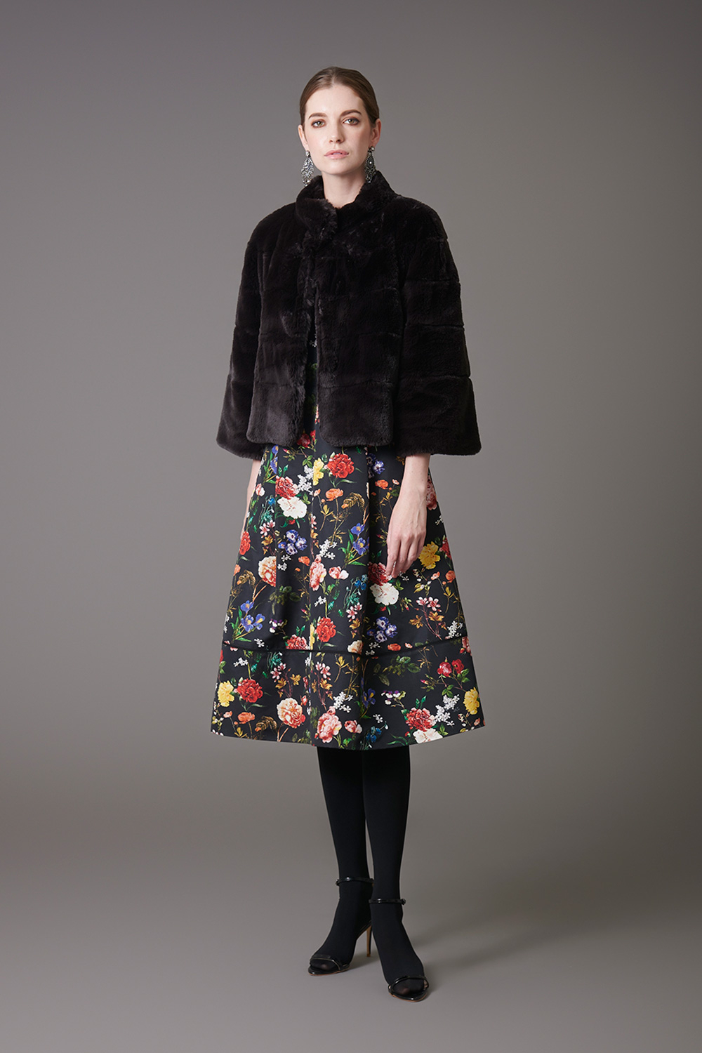 Fur Jacket & Flower Print Dress