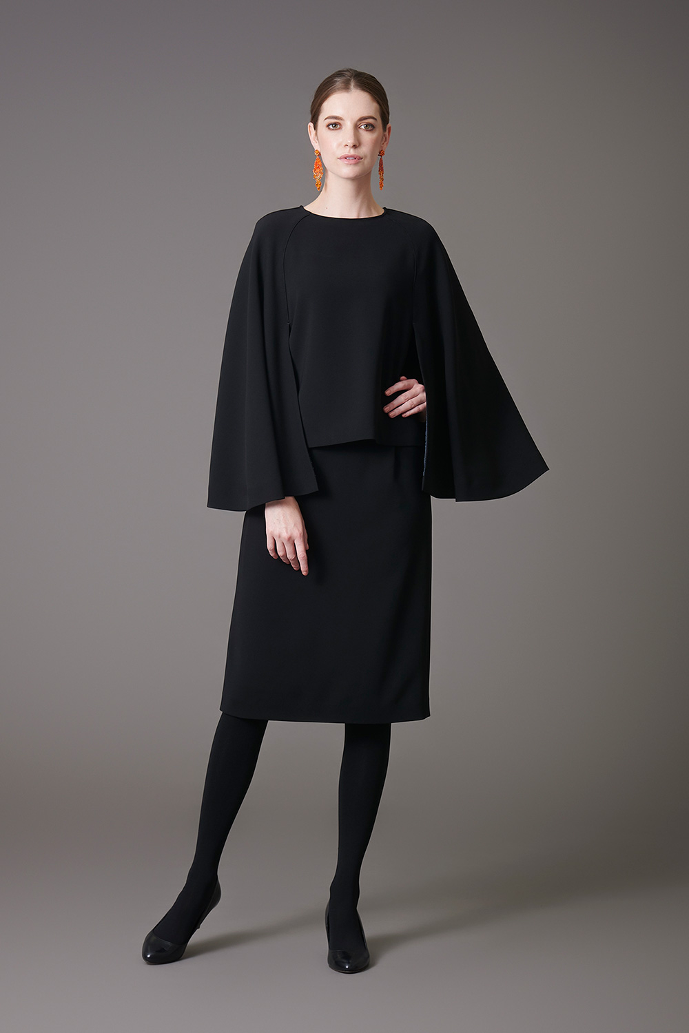 Pullover Blouse & Straight Skirt