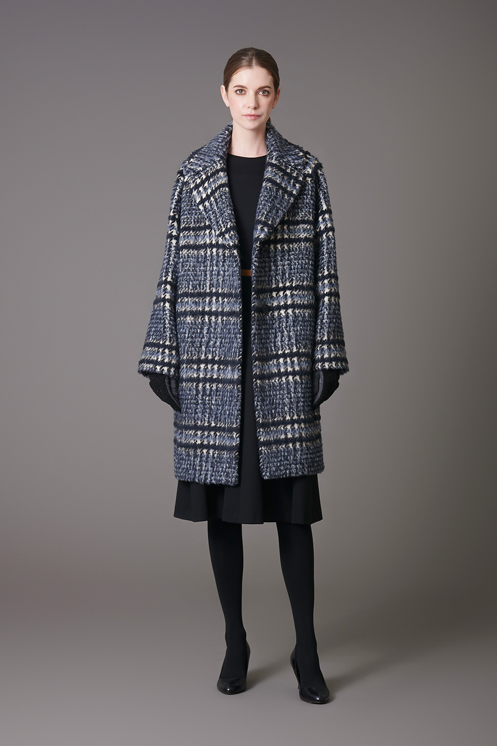 Shaggy Check Coat & Jersey Dress